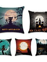 cheap -Halloween Double Side Cushion Cover 5PC Soft Decorative Square Throw Pillow Cover Cushion Case Pillowcase for Bedroom Livingroom Superior Quality Machine Washable Indoor Cushion for Sofa Couch Bed Chair Bat Pumpkin Grave