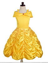 cheap -Kids Little Girls' Dress Cartoon Solid Color Party / Evening Yellow Sleeveless Cosplay Dresses All Seasons 1-6 Years