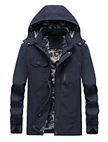 cheap -Men's Hoodie Jacket Hiking Jacket Hiking Windbreaker Outdoor Solid Color Thermal Warm Windproof Quick Dry Lightweight Outerwear Trench Coat Top Full Length Visible Zipper Skiing Ski / Snowboard