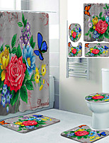 cheap -Butterfly Flowers Printed Bathroom Home Decoration Bathroom Shower Curtain Waterproof shower curtain with 12 hooks floor mats and four-piece toilet mats.