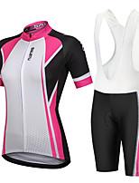 cheap -Women's Short Sleeve Cycling Padded Shorts Cycling Jersey with Bib Shorts Cycling Jersey with Shorts Summer Spandex Polyester Pink+White Black Pink / Black Geometic Bike Bib Shorts Padded Shorts