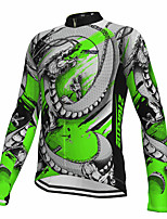 cheap -21Grams Men's Long Sleeve Cycling Jersey Spandex Polyester Green Dragon Fluorescent Funny Bike Top Mountain Bike MTB Road Bike Cycling Quick Dry Moisture Wicking Breathable Sports Clothing Apparel