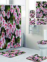cheap -Beautiful Flowers Printed Bathroom Home Decoration Bathroom Shower Curtain Lining Waterproof Shower Curtain with 12 hooks Floor Mats and four-piece toilet mats.