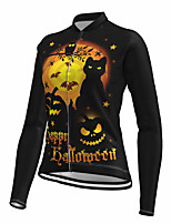 cheap -21Grams Women's Long Sleeve Cycling Jersey Spandex Polyester Black Cat 3D Funny Bike Top Mountain Bike MTB Road Bike Cycling Quick Dry Moisture Wicking Breathable Sports Clothing Apparel / Stretchy