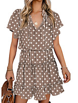 cheap -Women's A Line Dress Short Mini Dress Blue Blushing Pink Wine Grey Khaki Green Sky Blue Black Red Brown Short Sleeve Solid Color Layered Ruffle Spring Summer V Neck Stand Collar Elegant Casual