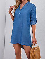 cheap -Women's Shirt Dress Short Mini Dress Blue 3/4 Length Sleeve Solid Color Button Fall Spring V Neck Work Elegant Casual 2021 One-Size
