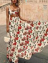 cheap -Women's Swing Dress Maxi long Dress Red Sleeveless Floral Hollow To Waist Print Fall Summer V Neck Casual 2021 S M L XL XXL 3XL