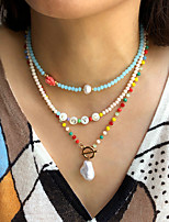 cheap -Pendant Necklace Beaded Necklace Women's Beads Imitation Pearl Fashion Holiday Casual / Sporty Sweet Boho Rainbow Beige Light Blue Golden 7 40 cm Necklace Jewelry 1pc for Street Gift Daily Prom