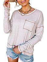 cheap -Women's T shirt Plain Long Sleeve Round Neck Basic Tops Blue Purple Blushing Pink