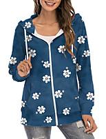 cheap -Women's Hoodie Zip Up Hoodie Sweatshirt Floral Daisy Zipper Print Daily Sports 3D Print Active Streetwear Hoodies Sweatshirts  Blue Blushing Pink Gray