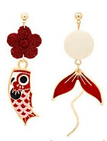 cheap -Women's Mismatch Earrings Classic Fish Stylish Earrings Jewelry Red For Gift Date 1 Pair