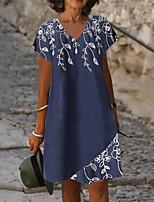 cheap -Women's A Line Dress Knee Length Dress Navy Blue Short Sleeve Floral Print Summer V Neck Casual 2021 S M L XL XXL 3XL