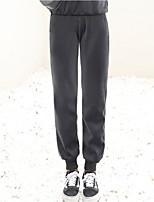 cheap -Women's Fashion Streetwear Comfort Sweatpants Casual Weekend Pants Plain Full Length Pocket Elastic Drawstring Design Grey lamb wool Black lamb Grey Black / Fleece Lining