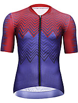 cheap -21Grams Men's Short Sleeve Cycling Jersey Summer Spandex Dark Blue Color Block Bike Top Mountain Bike MTB Road Bike Cycling Quick Dry Moisture Wicking Sports Clothing Apparel / Athleisure