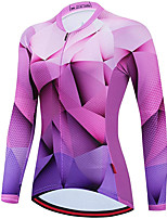 cheap -21Grams Women's Long Sleeve Cycling Jersey Spandex Purple 3D Bike Top Mountain Bike MTB Road Bike Cycling Quick Dry Moisture Wicking Sports Clothing Apparel / Stretchy / Athleisure