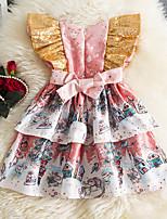 cheap -Toddler Little Girls' Dress Cartoon A Line Dress Print Blushing Pink Knee-length Short Sleeve Princess Cute Dresses Summer Regular Fit 1-4 Years
