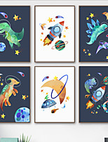 cheap -Wall Art Canvas Prints Painting Artwork Picture Space Universe Dinosaur Cartoon Nursery Home Decoration Decor Rolled Canvas No Frame Unframed Unstretched