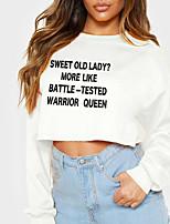cheap -Women's Sweatshirt Crop Top Text Slogan Monograms Crop Top Casual Sports Hot Stamping Cotton Active Streetwear Hoodies Sweatshirts  Gray White