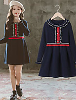 cheap -girls falbala collar knitting dresses preppy style children ruffle long sleeve dress lady navy sweater clothing a5331