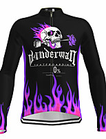 cheap -21Grams Men's Long Sleeve Cycling Jersey Spandex Polyester Black Skull Floral Botanical Funny Bike Top Mountain Bike MTB Road Bike Cycling Quick Dry Moisture Wicking Breathable Sports Clothing Apparel