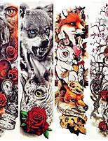 cheap -4 Pcs Watercolor Wolf Fox Totem Tiger Waterproof Temporary Tattoo Sticker Geometric Triangle Flash Tattoos Body Art Fake Tatoo