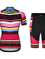 cheap -21Grams Women's Short Sleeve Cycling Jersey with Shorts Summer Spandex Rose Red Bike Quick Dry Moisture Wicking Sports Horizontal Stripes Mountain Bike MTB Road Bike Cycling Clothing Apparel