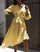 cheap -Women's A Line Dress Knee Length Dress Yellow White 3/4 Length Sleeve Solid Color Lace up Ruffle Button Fall V Neck Casual 2021 S M L XL XXL 3XL 4XL 5XL