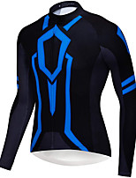 cheap -21Grams Men's Long Sleeve Cycling Jersey Spandex Blue Stripes Bike Top Mountain Bike MTB Road Bike Cycling Quick Dry Moisture Wicking Sports Clothing Apparel / Stretchy / Athleisure