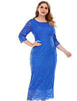 cheap -A-Line Elegant Vintage Wedding Guest Formal Evening Dress Jewel Neck 3/4 Length Sleeve Ankle Length Lace with Lace Insert 2021