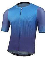cheap -21Grams Men's Short Sleeve Cycling Jersey Summer Spandex Blue Grey Green Gradient Bike Top Mountain Bike MTB Road Bike Cycling Quick Dry Moisture Wicking Sports Clothing Apparel / Stretchy