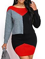 cheap -Women's Sheath Dress Short Mini Dress Yellow Orange Red Long Sleeve Color Block Patchwork Fall Winter V Neck Casual 2021 S M L XL XXL
