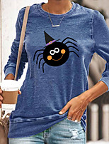cheap -Women's Halloween Abstract Painting T shirt Graphic Animal Long Sleeve Print Round Neck Basic Halloween Tops Cotton Blue Yellow Gray