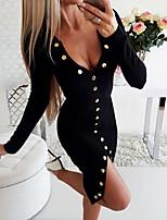 cheap -Women's Sheath Dress Knee Length Dress Black Long Sleeve Solid Color Split Fall V Neck Casual 2021 S M L XL XXL 3XL 4XL 5XL