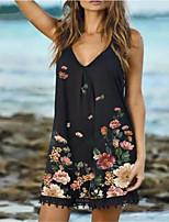 cheap -Women's A Line Dress Short Mini Dress Green Black Red Dark Blue Sleeveless Floral Print Summer V Neck Casual 2021 S M L XL XXL 3XL 4XL 5XL