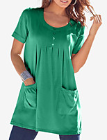 cheap -Women's Loose Short Mini Dress Amazon independent station hot spot Purple Red Wine Green Black Short Sleeve Solid Color Pleated Pocket Button Spring Summer U Neck Basic Casual 2021 S M L XL XXL