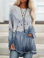 cheap -Women's T Shirt Dress Tee Dress Short Mini Dress Gray Long Sleeve Print Print Fall Round Neck Casual Halloween 2021 S M L XL XXL 3XL