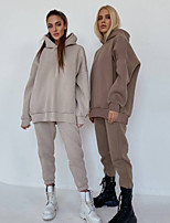 cheap -Women's Sweatsuit 2 Piece Set Pocket Patchwork Pullover Color Block Sport Athleisure Clothing Suit Long Sleeve Breathable Soft Comfortable Everyday Use Street Casual Daily Outdoor / Winter