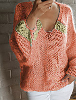 cheap -Women's Sweater Knitted Solid Color Stylish Long Sleeve Sweater Cardigans V Neck Fall Winter Blue Blushing Pink Khaki / Going out