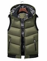 cheap -Men's Vest Daily Going out Fall Winter Regular Coat Regular Fit Thermal Warm Windproof Warm Casual Streetwear Jacket Sleeveless Color Block Geometric Patchwork Print Army Green Gray Black