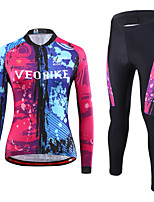 cheap -Women's Long Sleeve Cycling Jersey with Tights Winter Spandex Red+Blue Graffiti Bike Quick Dry Sports Graphic Mountain Bike MTB Road Bike Cycling Clothing Apparel / Stretchy / Athletic / Athleisure