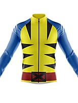 cheap -21Grams Men's Long Sleeve Cycling Jersey Spandex Polyester Blue+Yellow 3D Funny Bike Top Mountain Bike MTB Road Bike Cycling Quick Dry Moisture Wicking Breathable Sports Clothing Apparel / Stretchy