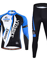 cheap -Women's Men's Long Sleeve Cycling Jersey with Tights Winter Spandex Black / Red Bule / Black Stripes Patchwork Bike Quick Dry Sports Stripes Mountain Bike MTB Road Bike Cycling Clothing Apparel