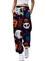 cheap -Women's Casual Fashion Breathable Sports Pants Sweatpants Halloween Daily Pants Skull Pumpkin Full Length Elastic Drawstring Design Print Purple Fuchsia