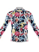 cheap -21Grams Men's Long Sleeve Cycling Jersey Spandex Polyester Red+Blue Floral Botanical Funny Bike Top Mountain Bike MTB Road Bike Cycling Quick Dry Moisture Wicking Breathable Sports Clothing Apparel