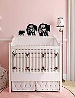 """cheap -30"""" wide bear family baby room wall decal - baby crib papa bear mama bear and baby bear vinyl wall decor sticker - black"""