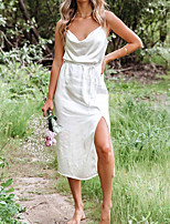 cheap -Women's Strap Dress Knee Length Dress White Sleeveless Solid Color Backless Split Summer Boat Neck Casual Sexy 2021 S M L XL