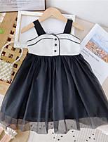 cheap -Kids Little Girls' Dress Flower / Floral Black pre-shot Black Sleeveless Fashion Cute Dresses Summer