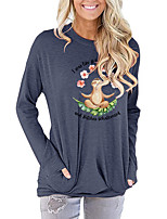 cheap -Women's Painting T shirt Graphic Letter Animal Long Sleeve Print Round Neck Basic Vintage Tops Regular Fit Cotton Blushing Pink Green Light gray