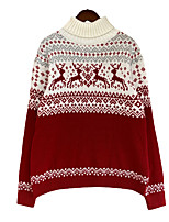 cheap -Women's Pullover Sweater Modern Style Print Casual Christmas Long Sleeve Sweater Cardigans Round Neck High Neck Fall Winter Fawn red Snowflake black color
