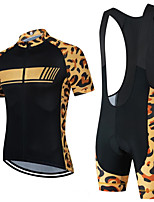 cheap -CAWANFLY Men's Short Sleeve Cycling Jersey with Bib Shorts Summer Polyester Orange / Black Geometic Funny Bike Clothing Suit Breathable Sweat wicking Sports Geometic Mountain Bike MTB Road Bike